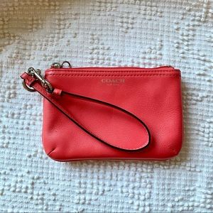 COACH Wristlet • Coral Red Leather